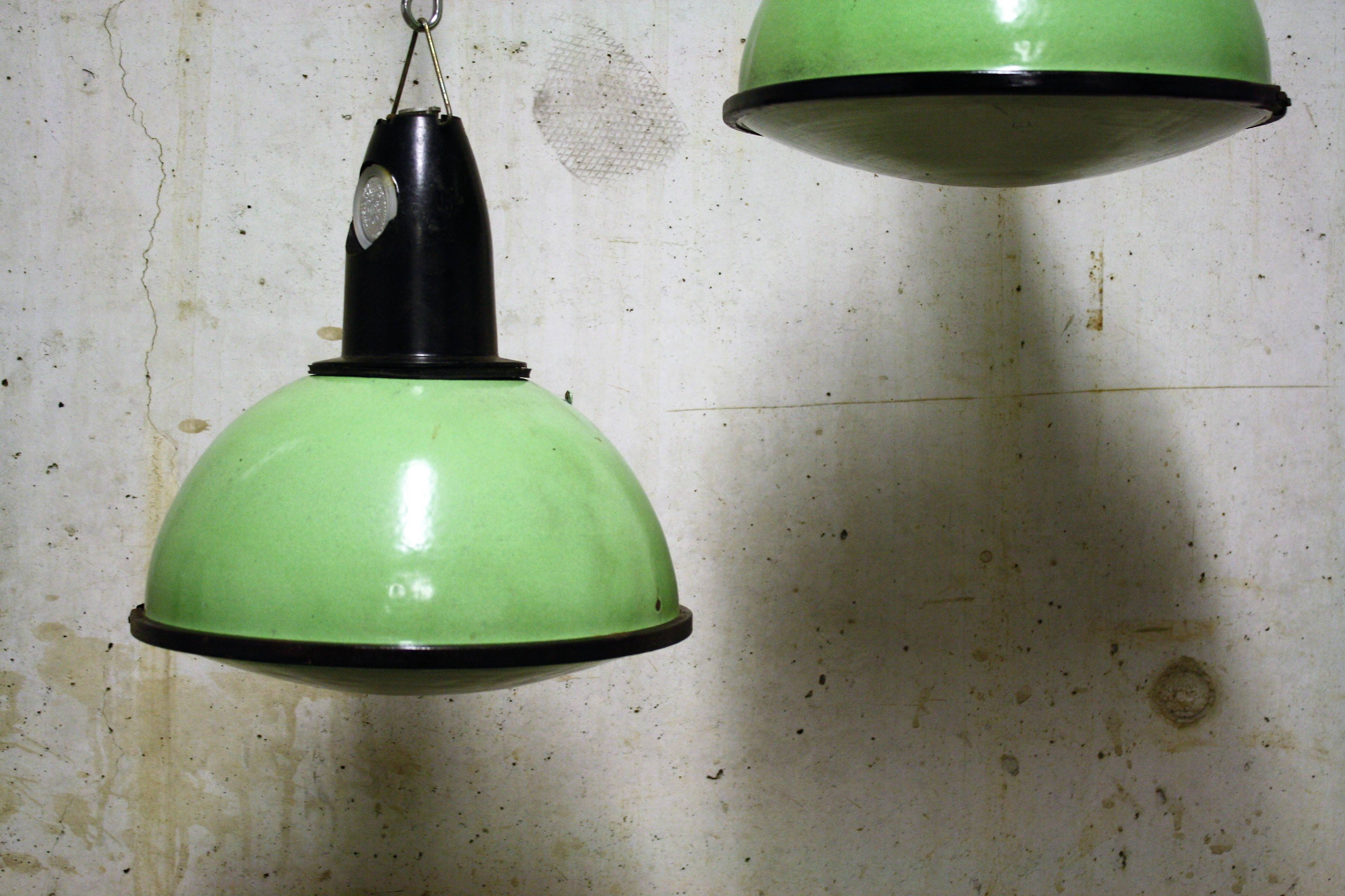 Green Industrial Pendant Lights With Glass 1960S (6Pcs) | Vinterior with 1960S Pendant Lights (Image 6 of 15)