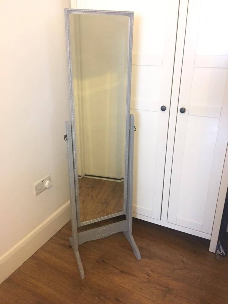 Grey Shabby Chic Vintage Free Standing Mirror French | In Tooting intended for Shabby Chic Free Standing Mirrors (Image 8 of 15)