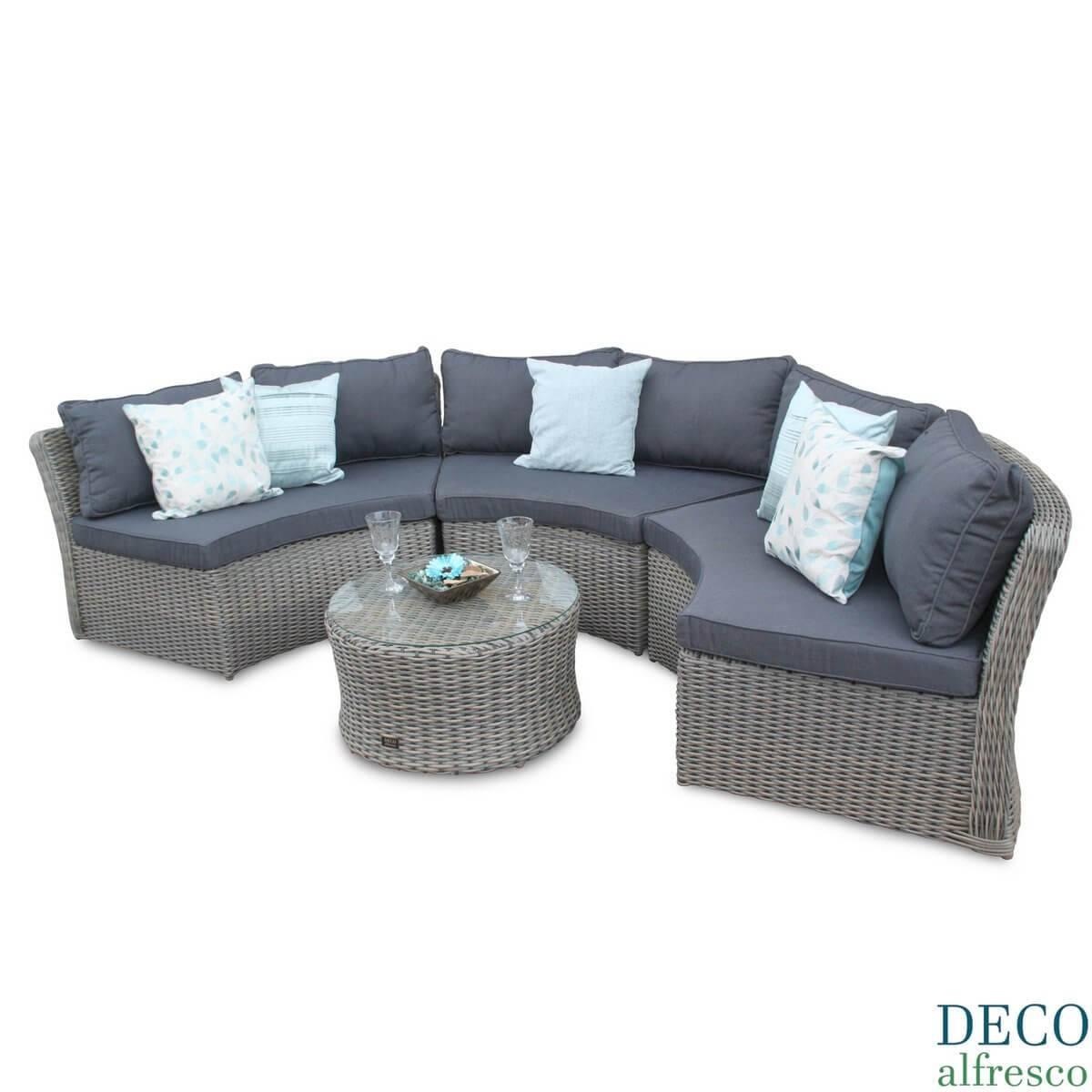 Half Moon Round Rattan Outdoor Furniture Sofa Natural Deco Alfresco With  Regard To Half Moon Sofas