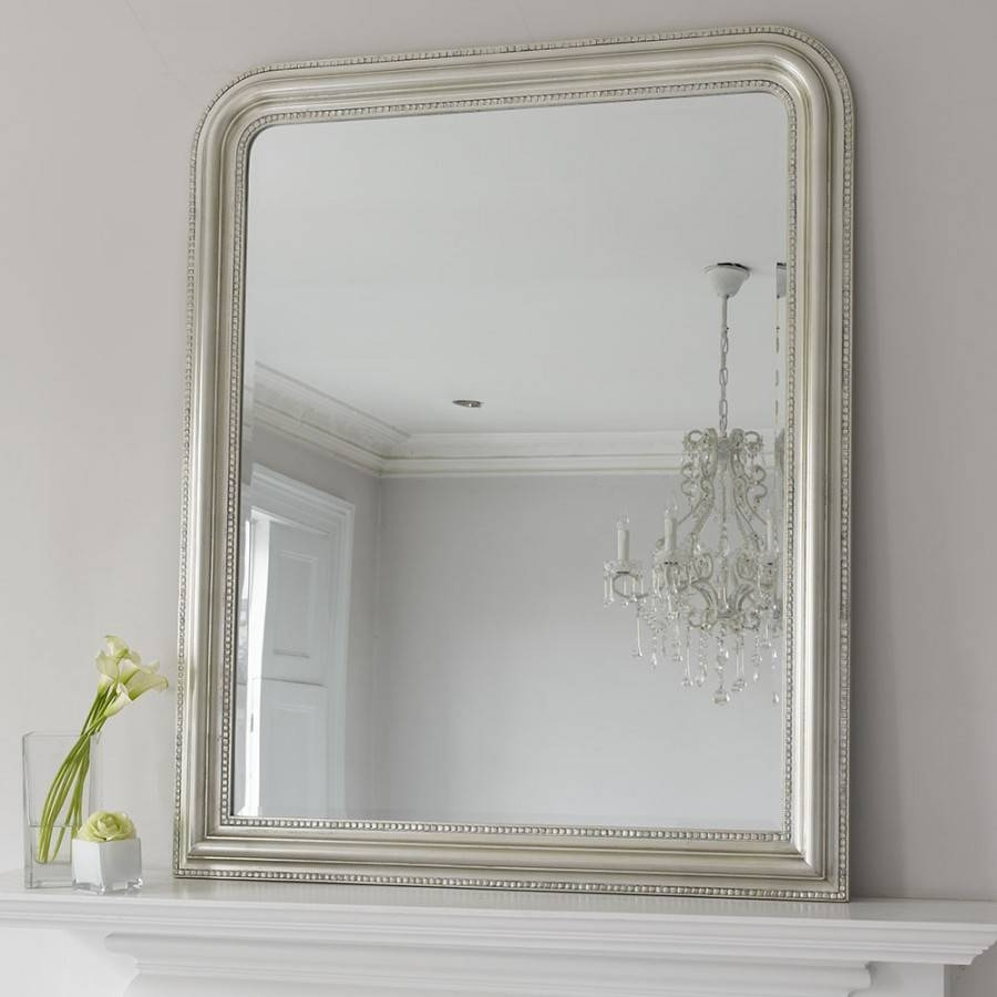 Hampshire Mirror - Silver Large | Brissi inside Large Overmantle Mirrors (Image 6 of 15)