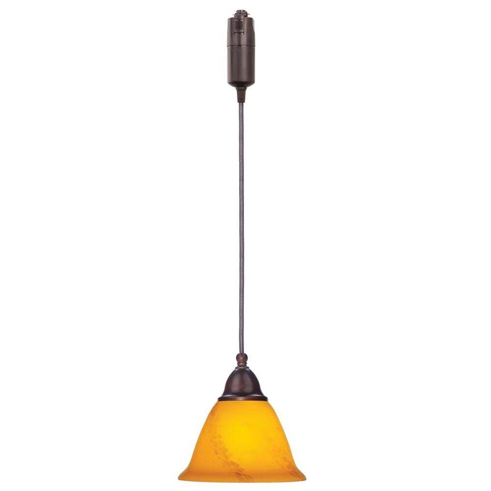 Hampton Bay 1-Light Antique Bronze Linear Track Or Direct Wire intended for Corded Pendant Lights (Image 6 of 15)