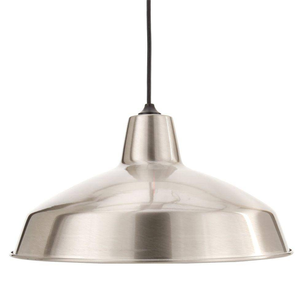 Hampton Bay 1 Light Brushed Nickel Warehouse Pendant Af 1032R Pertaining To Barn Pendant Lights (View 9 of 15)