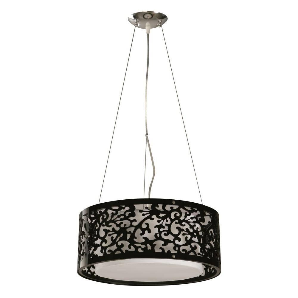Hampton Bay 3-Light Black Ceiling Drum Pendant-07276-2 - The Home for Black Drum Pendants (Image 10 of 15)