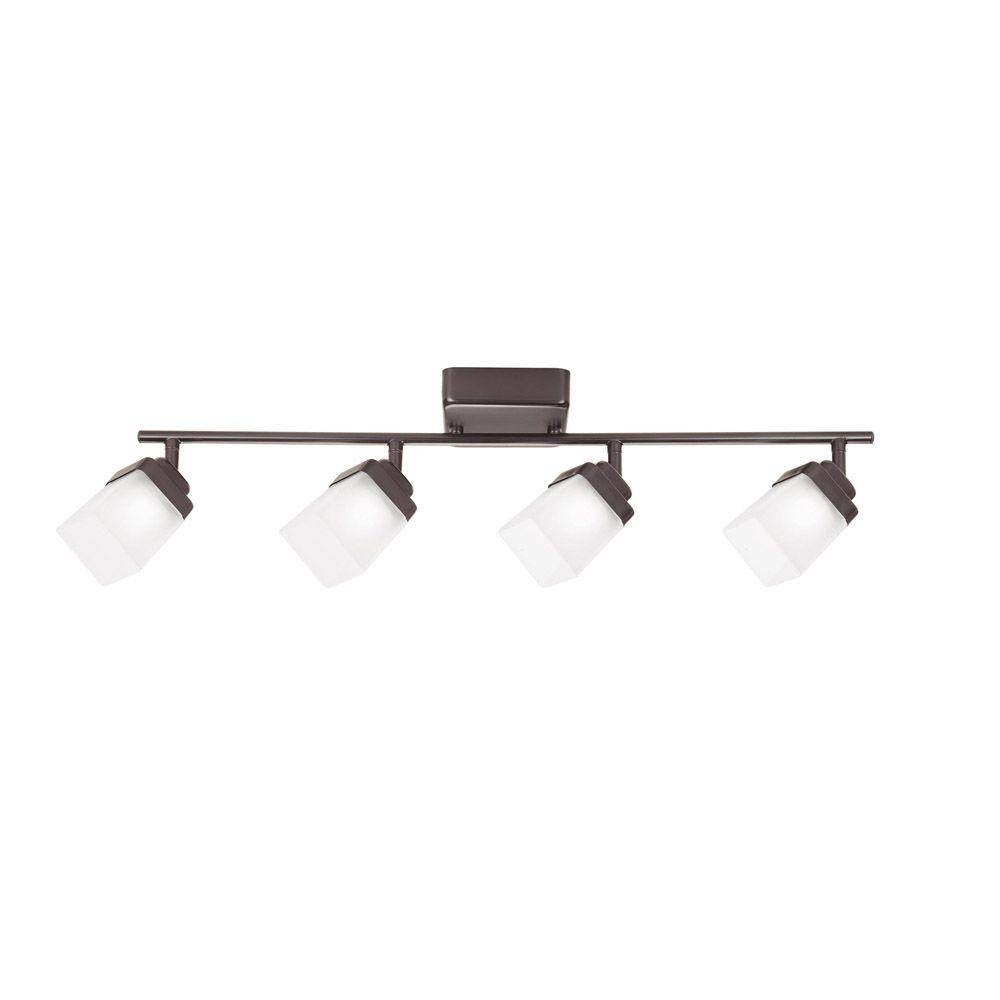 Hampton Bay 4-Light Bronze Led Dimmable Fixed Track Lighting Kit with regard to Hampton Bay Track Lights (Image 8 of 15)