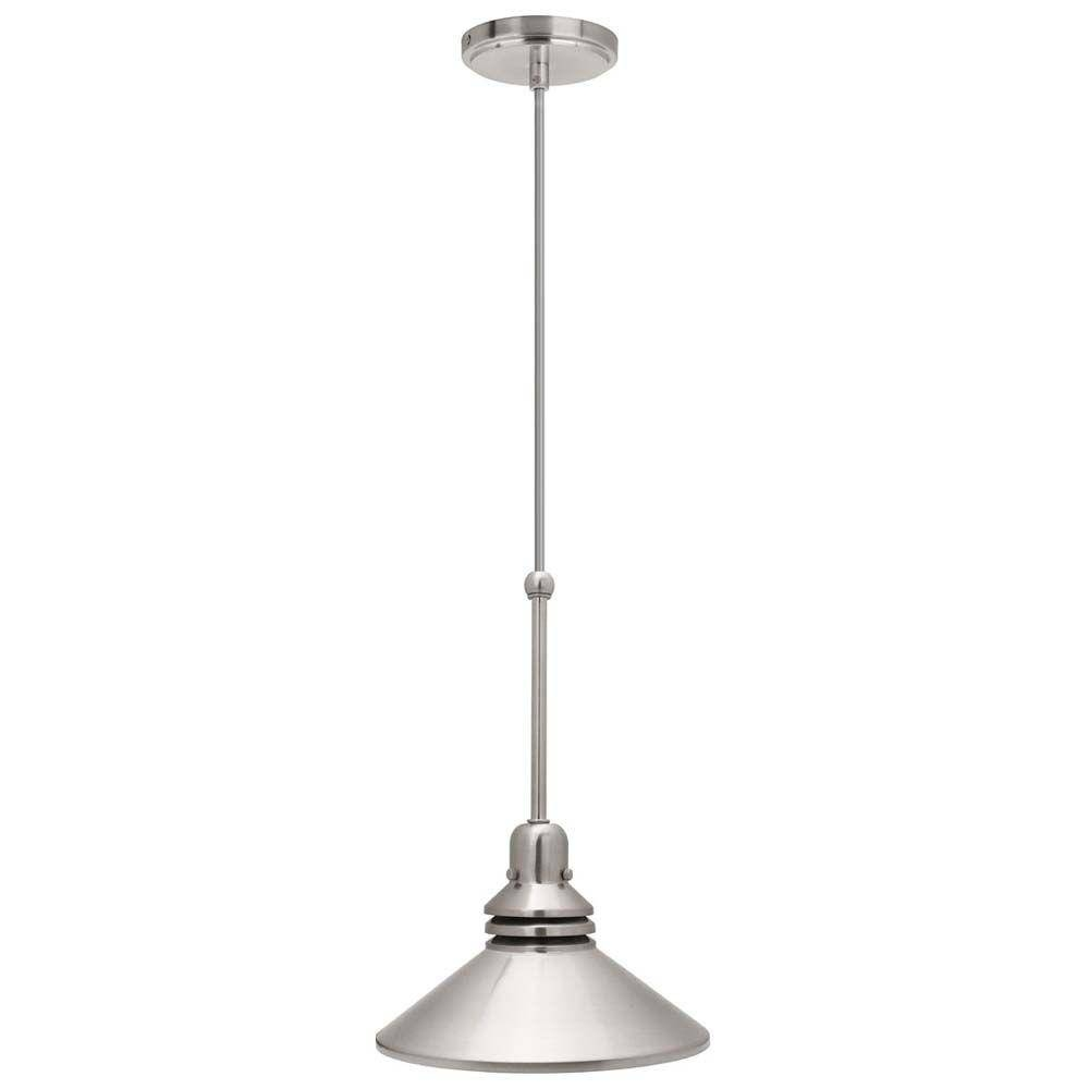Hampton Bay 86 In. 1-Light Brushed Nickel Pendant Track Lighting intended for Hampton Bay Pendant Fixtures (Image 3 of 15)