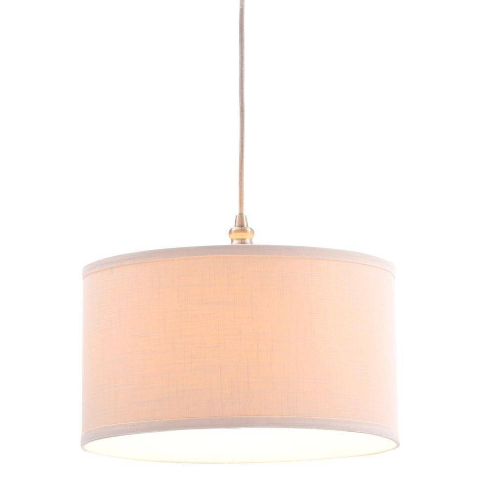 Hampton Bay Carroll 1-Light Brushed Nickel Swag Drum Pendant with Plugin Pendant Lights (Image 7 of 15)