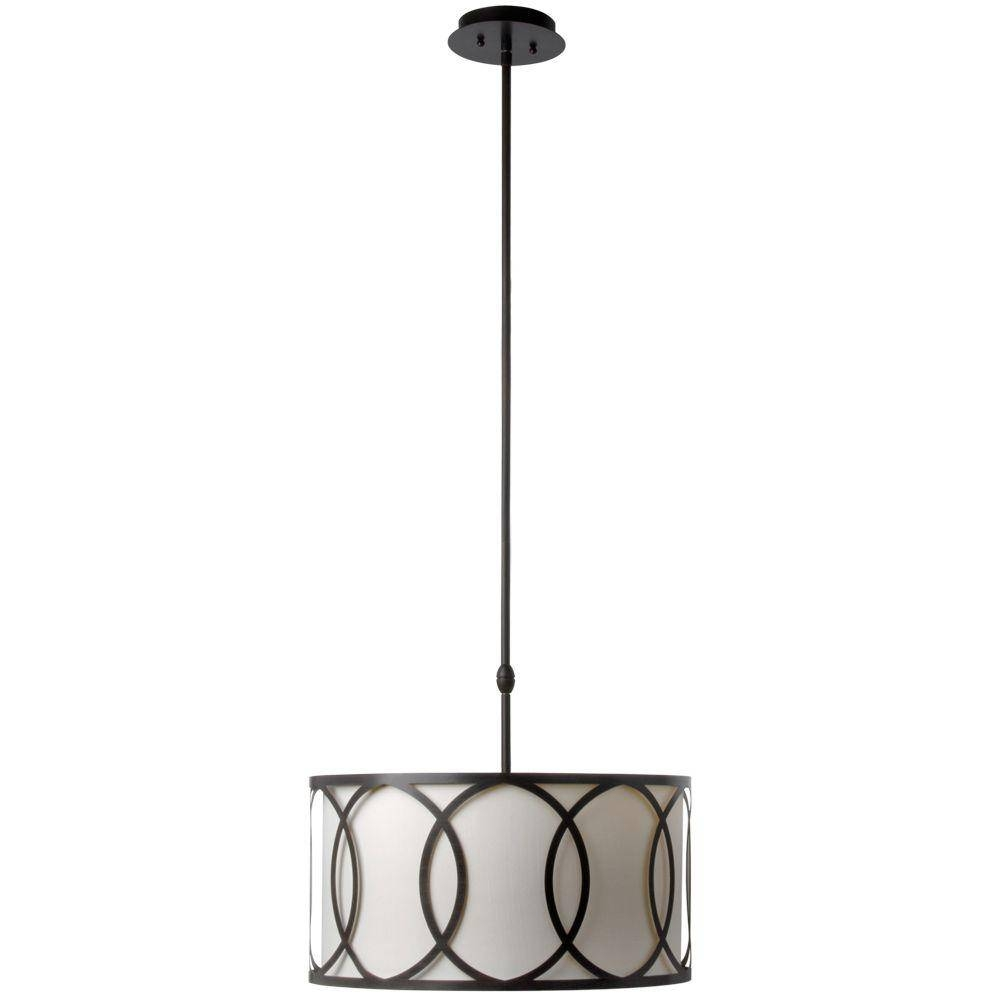 Hampton Bay Davenport 3-Light Oil-Rubbed Bronze Metal Overlay Drum pertaining to Hampton Bay Pendants (Image 8 of 15)