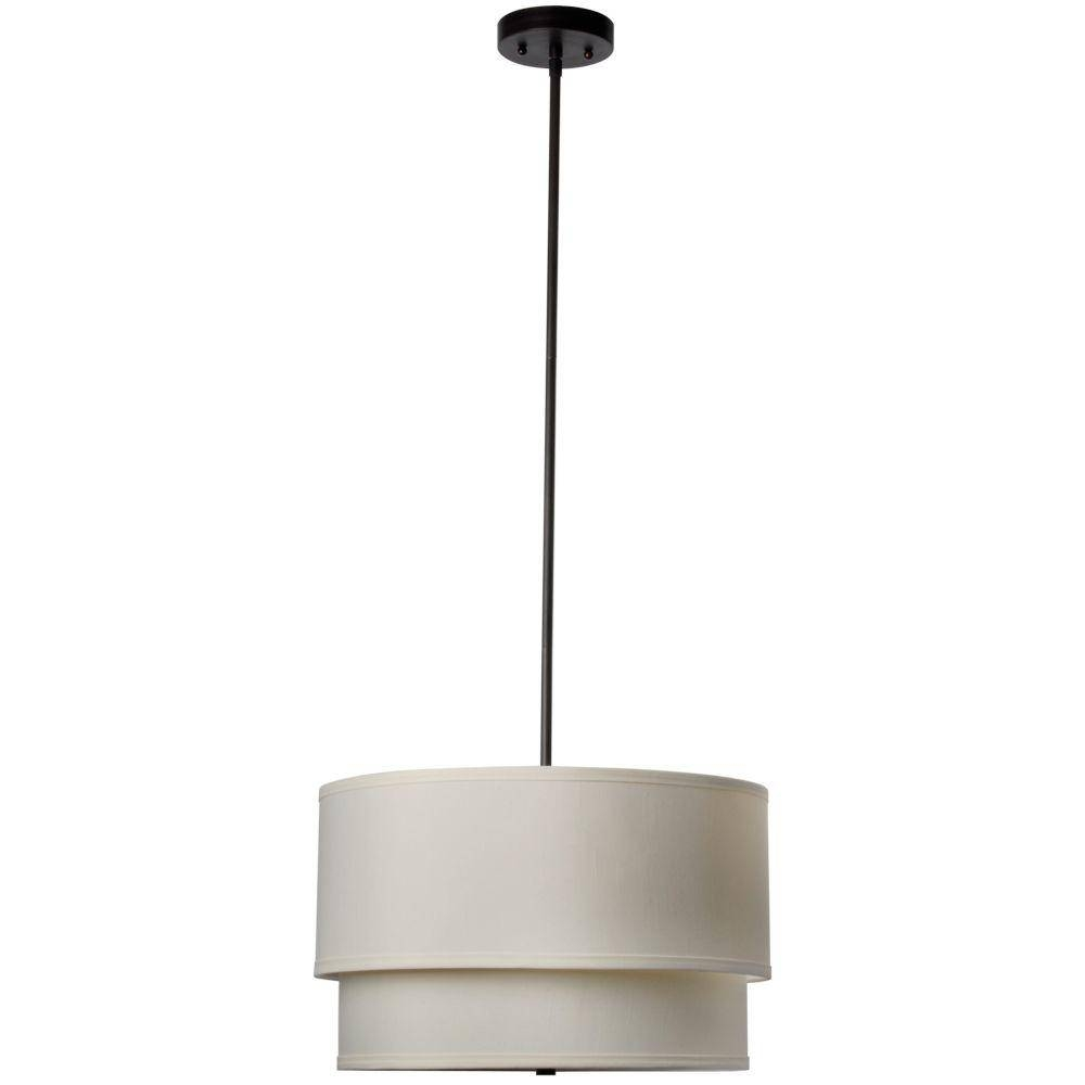 Hampton Bay Eagan 3 Light Oil Rubbed Bronze Drum Pendant With Within Double Pendant Lights (View 5 of 15)