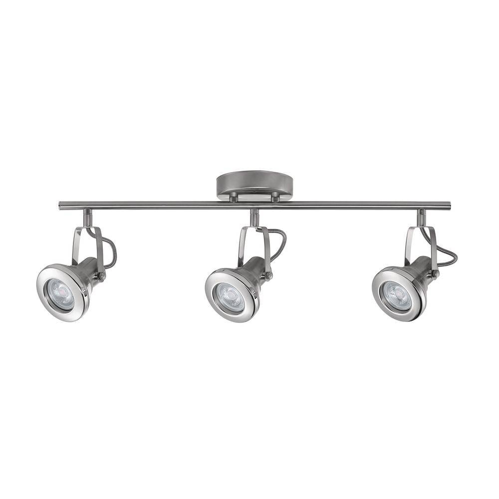 Hampton Bay Hampton Bay 3-Light Track Brushed Steel With Chrome inside Hampton Bay Track Lights (Image 12 of 15)
