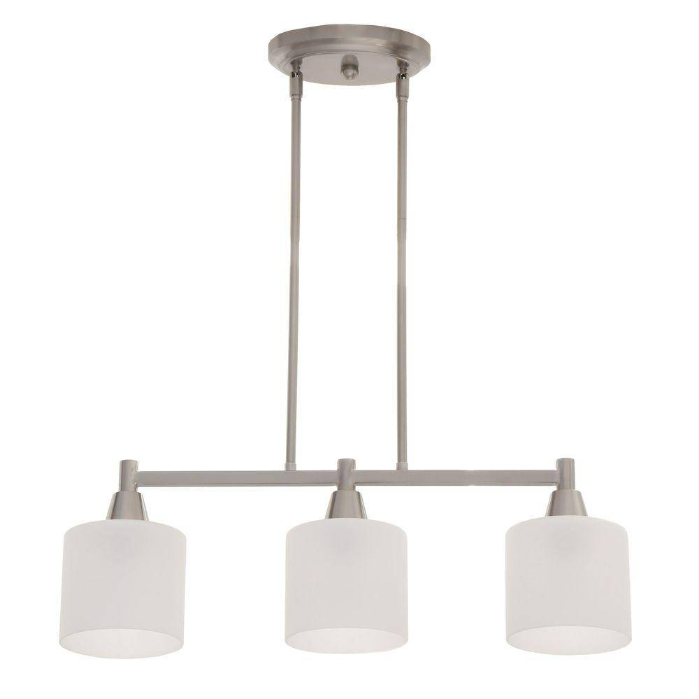 Hampton Bay Oron 3 Light Brushed Steel Island Light Hdp12070 – The With Regard To 3 Pendant Light Kits (View 8 of 15)