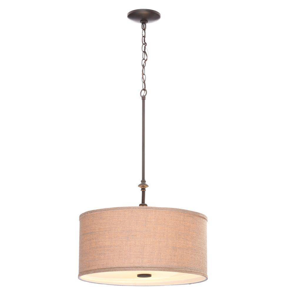 Hampton Bay Quincy 3-Light Oil-Rubbed Bronze Drum Pendant With inside Barrel Pendant Lights (Image 10 of 15)