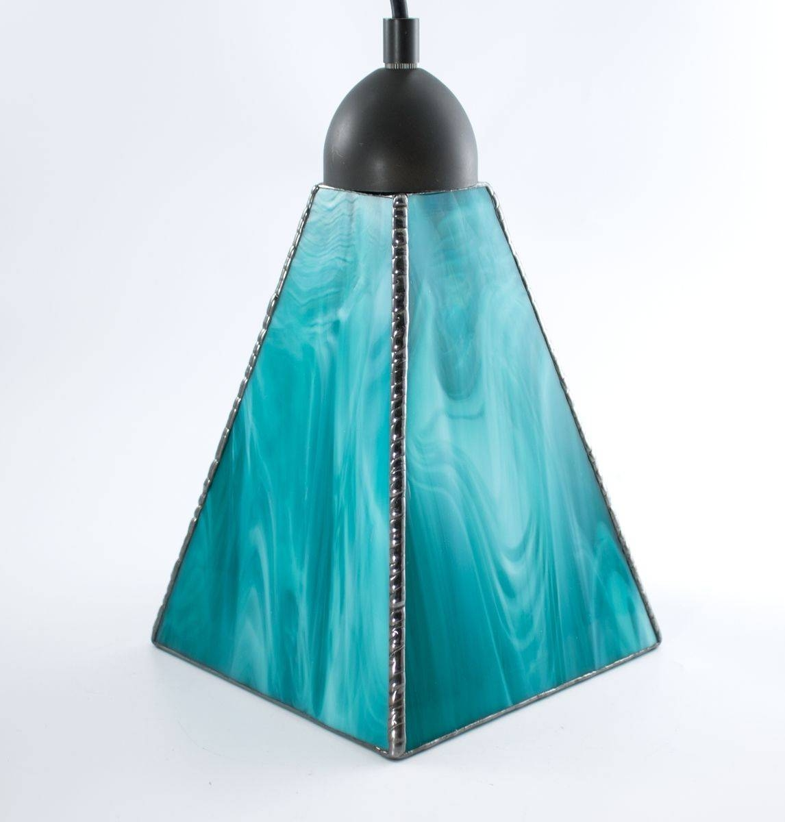 Hand Crafted Custom Stained Glass Pendant Lights - Wispy Art Glass throughout Turquoise Blue Glass Pendant Lights (Image 2 of 15)
