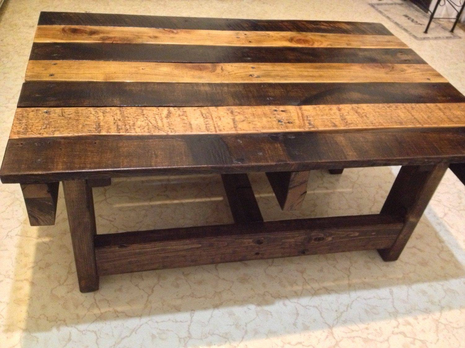 Hand Crafted Handmade Reclaimed Rustic Pallet Wood Coffee Table pertaining to Handmade Wooden Coffee Tables (Image 9 of 15)