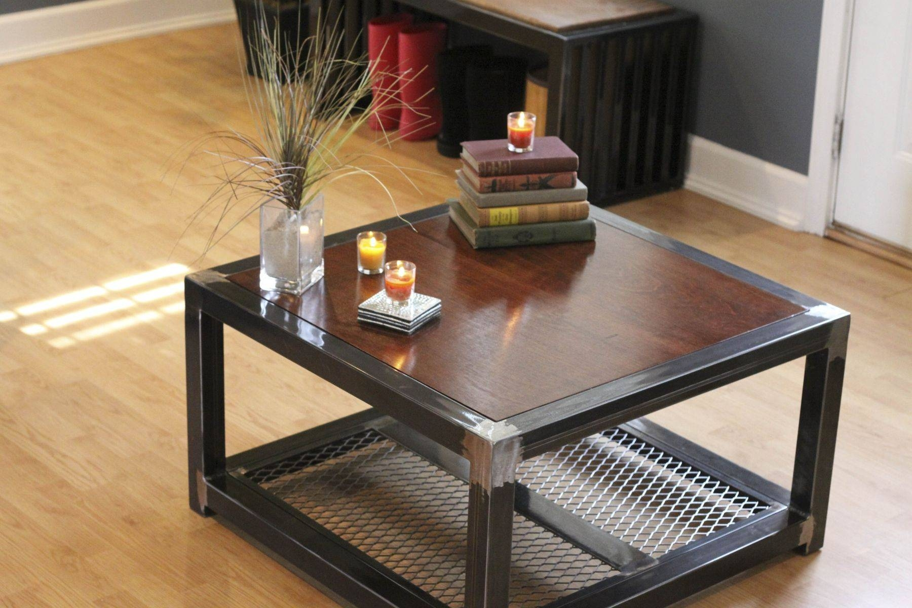 Hand Made Steel And Wood Coffee Tableindustrial Interiors pertaining to Metal and Wood Coffee Tables (Image 9 of 15)
