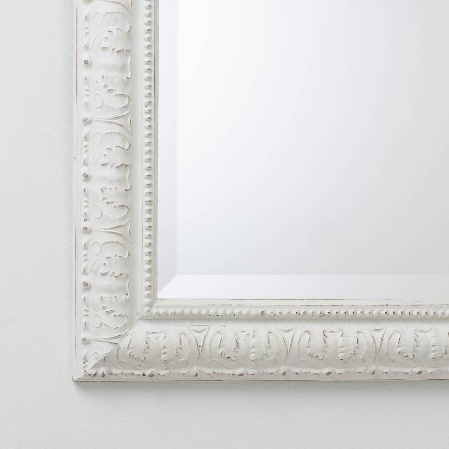 Hand Painted Beaded White And Cream Mirrorhand Crafted Mirrors regarding Cream Mirrors (Image 9 of 15)