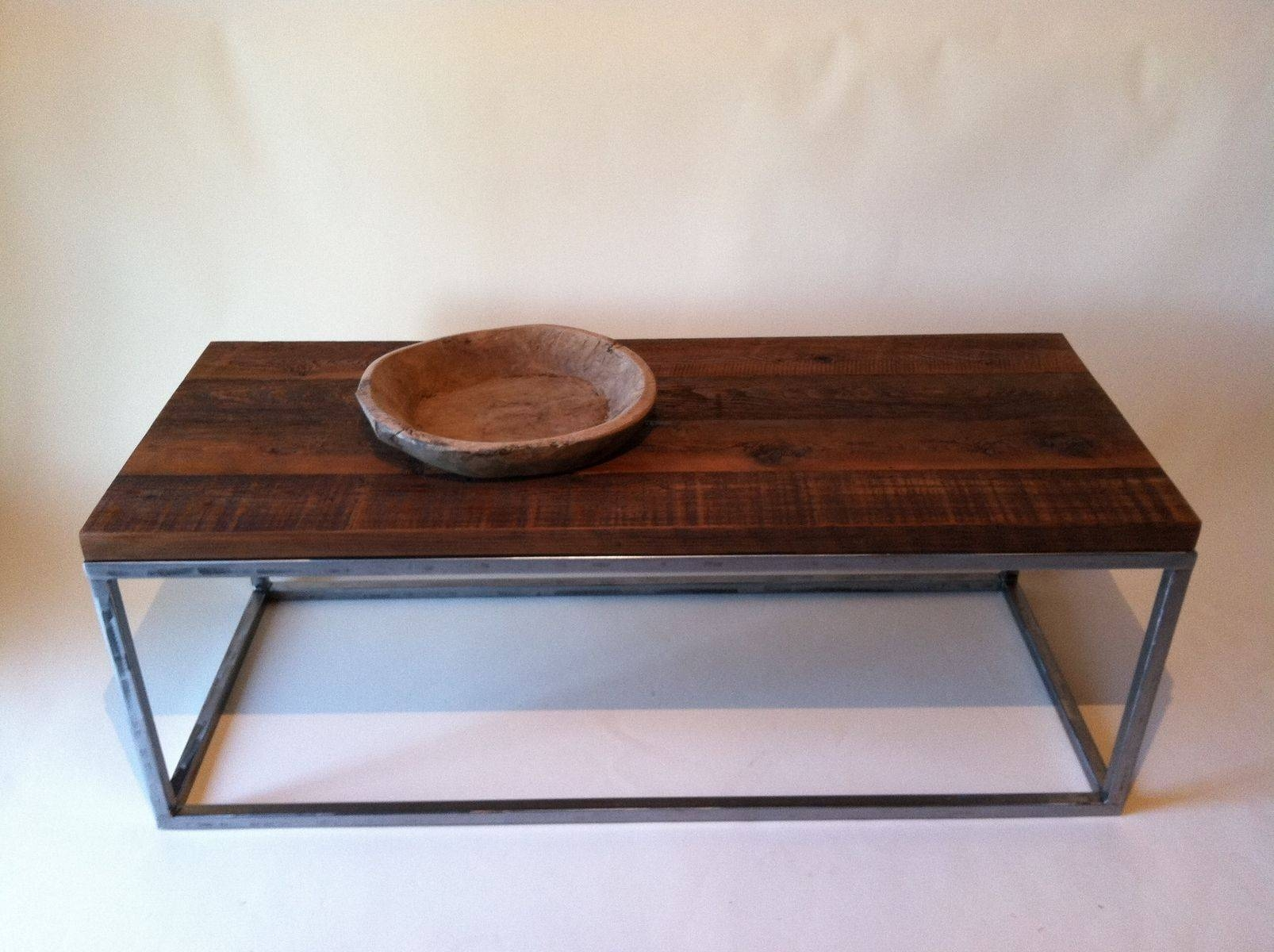 Handmade Reclaimed Wood Coffee Tables With Rectagular Polished inside Metal And Wood Coffee Tables (Image 10 of 15)