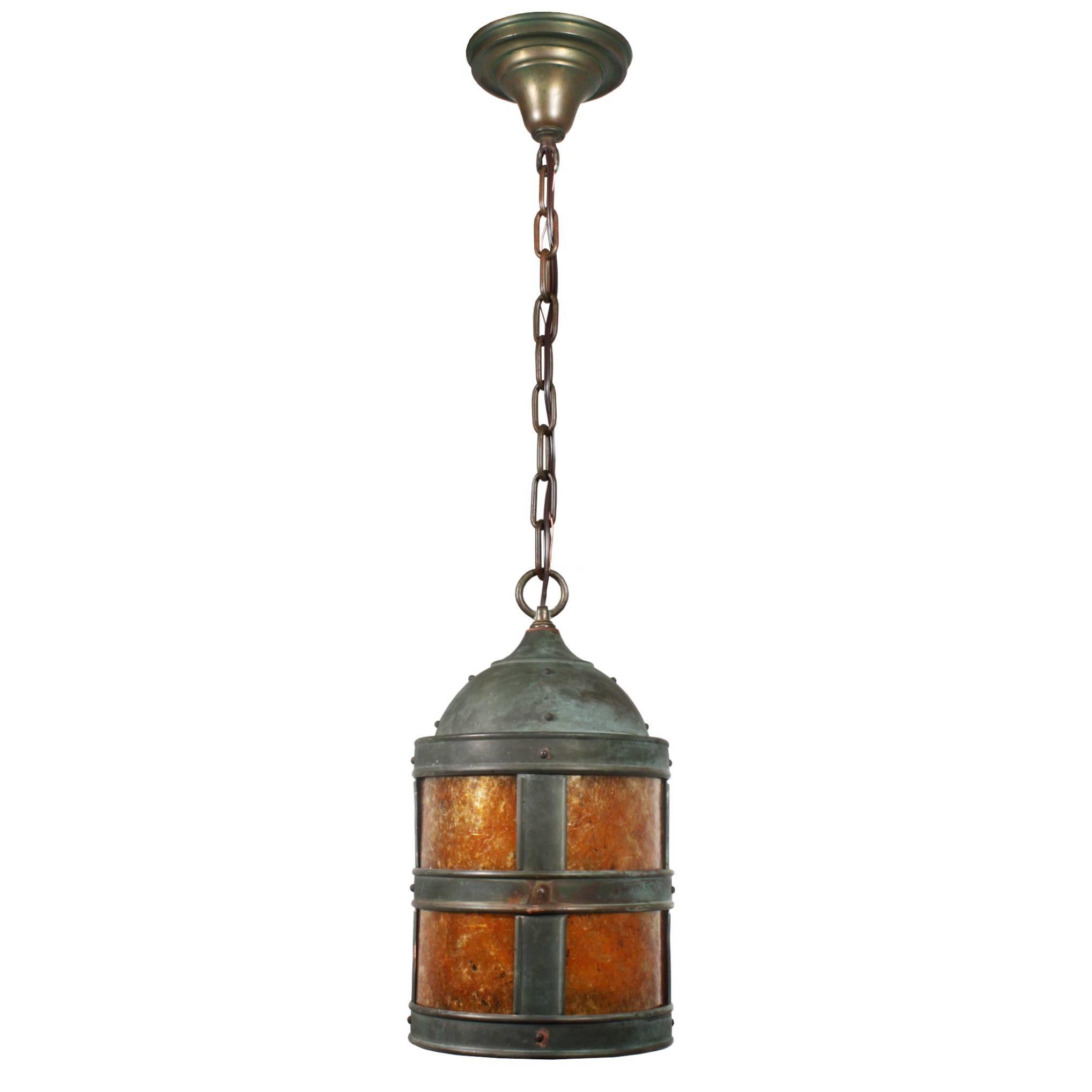Handsome Vintage Copper Arts & Crafts Pendant Light With Mica in Arts And Crafts Pendant Lights (Image 6 of 15)