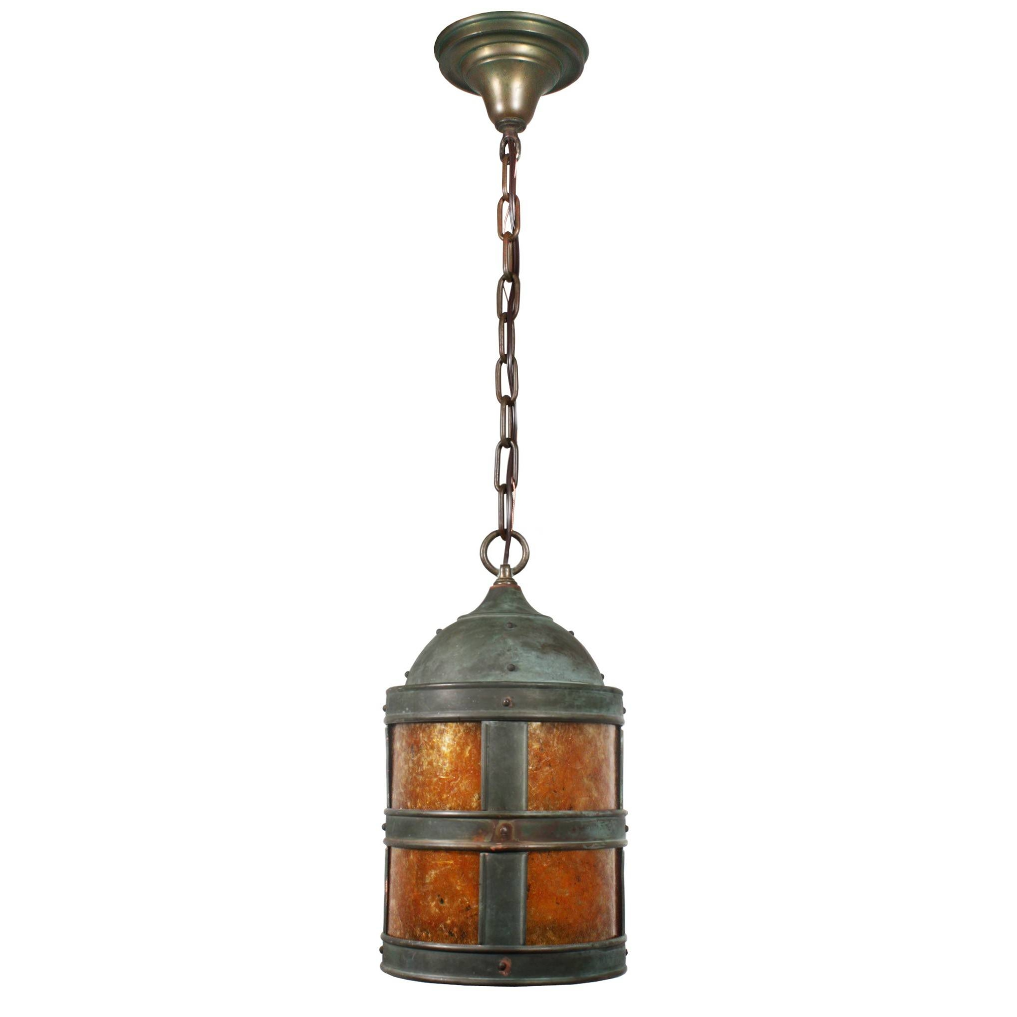 Handsome Vintage Copper Arts & Crafts Pendant Light With Mica pertaining to Arts And Crafts Pendant Lighting (Image 8 of 15)