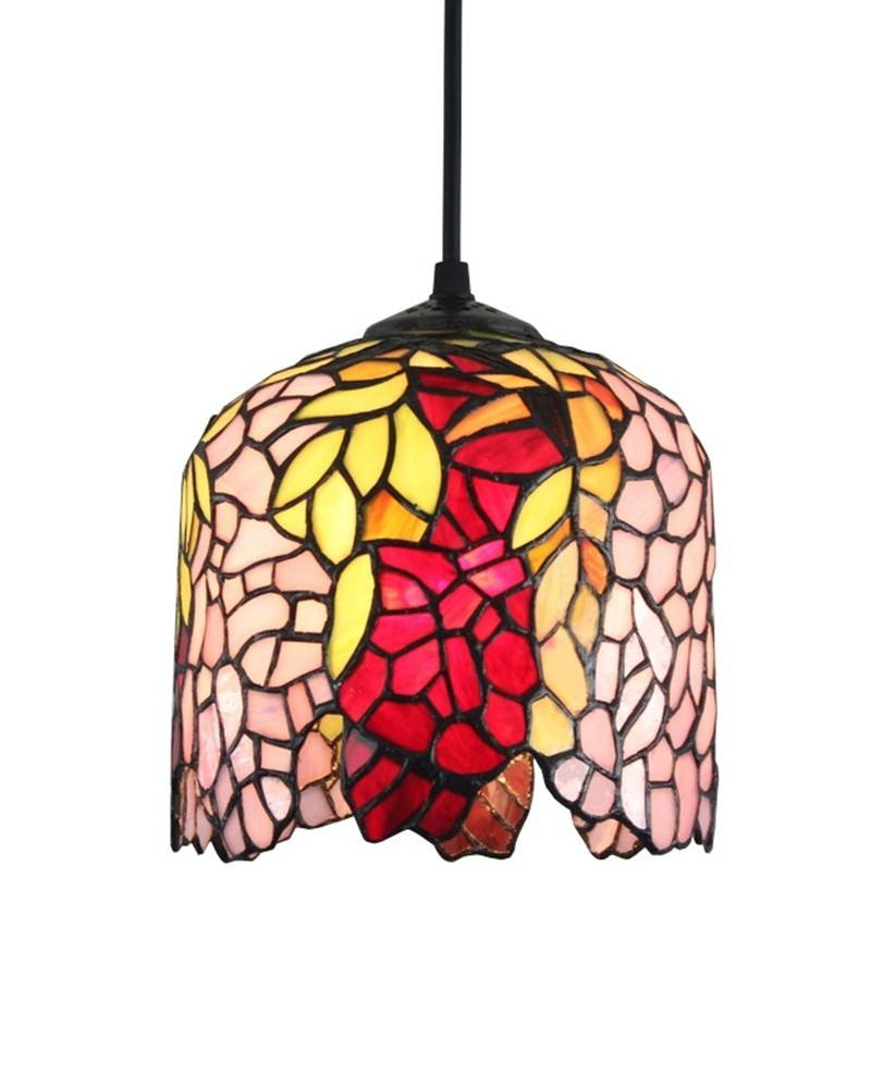 Hanging Wisteria Pattern Tiffany Pendant Light With A Creative With Regard To Stained Glass Pendant Light Patterns (View 4 of 15)