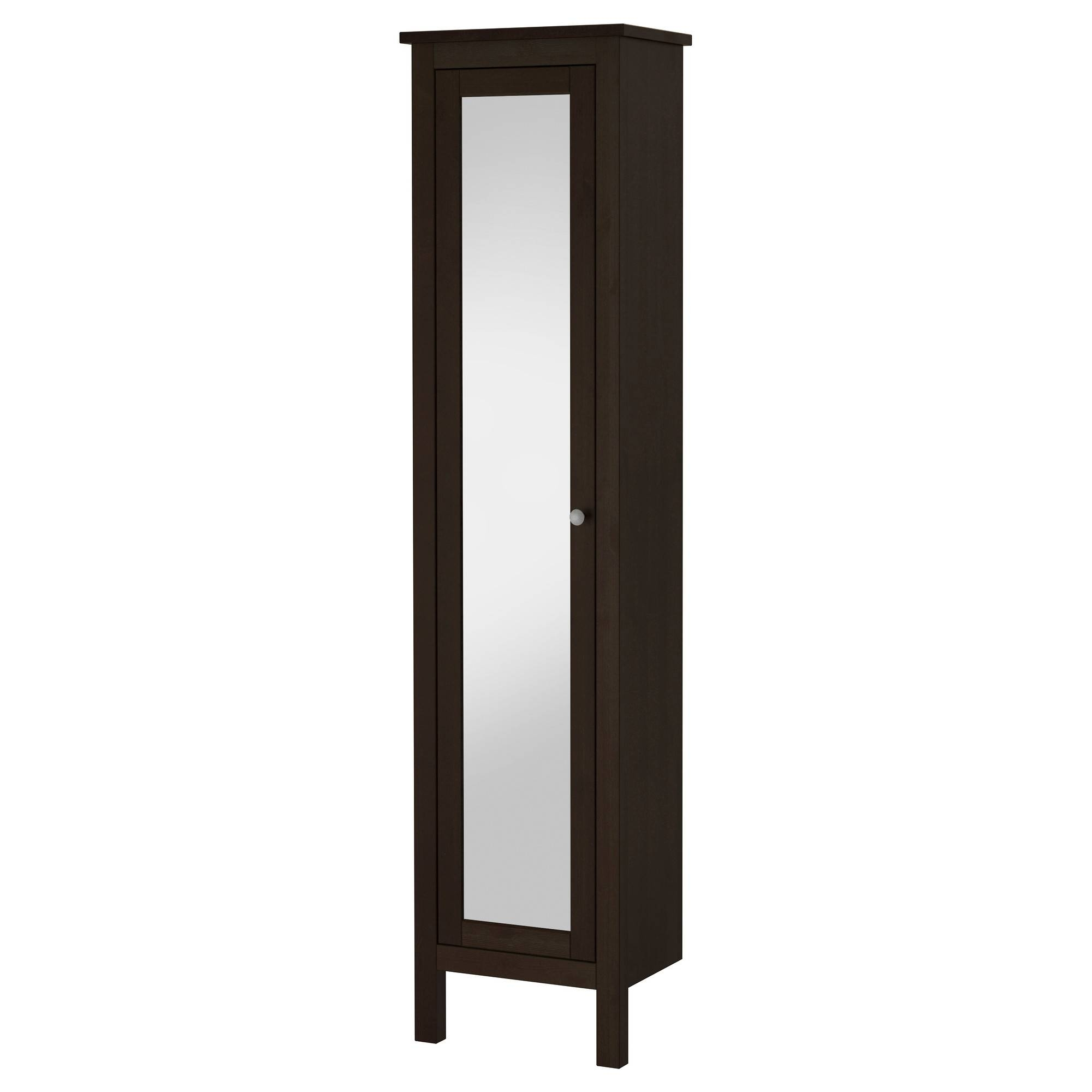 Hemnes High Cabinet With Mirror Door   Black Brown Stain   Ikea Throughout Black Cabinet Mirrors (Photo 12 of 15)