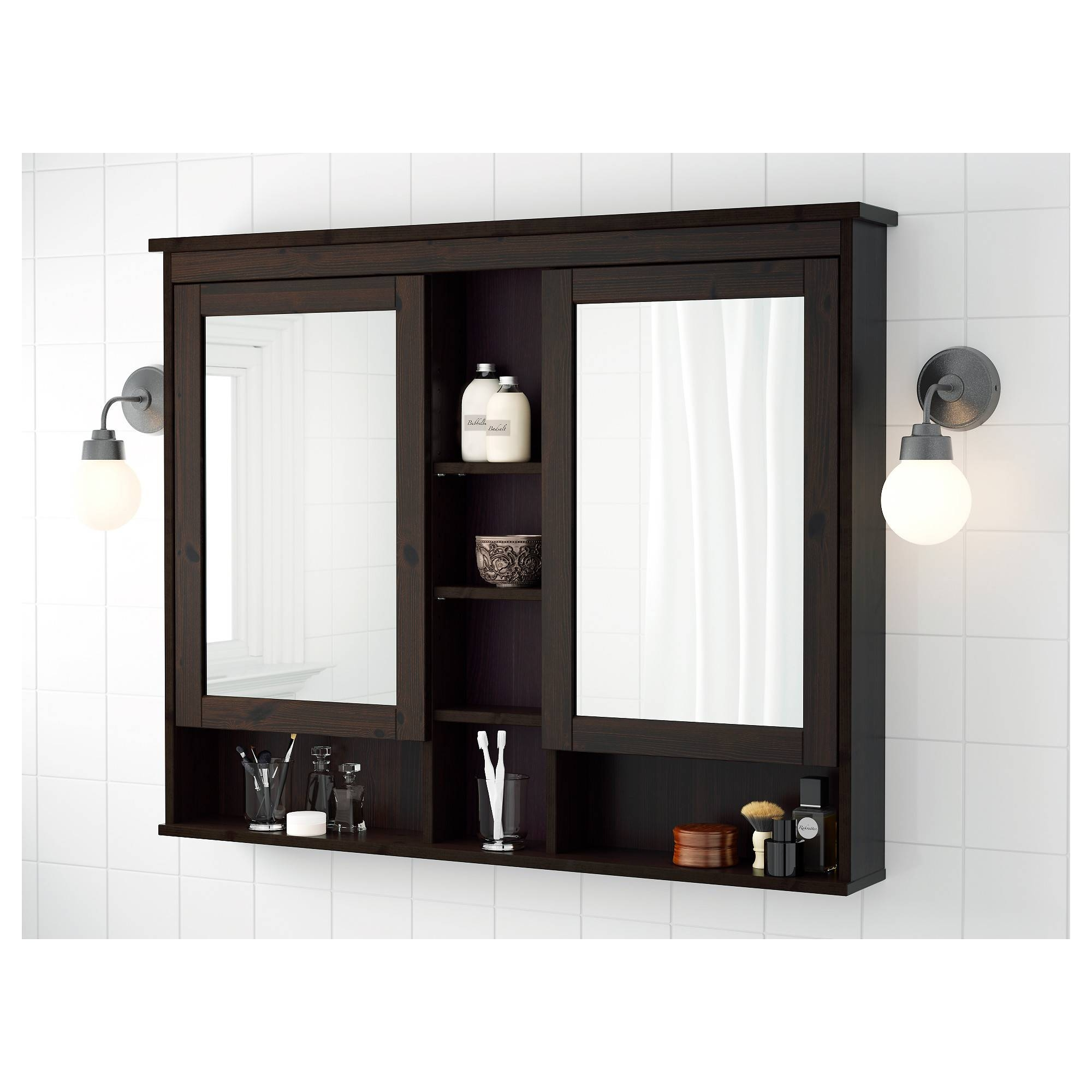 Hemnes Mirror Cabinet With 2 Doors - Black-Brown Stain, 32 5/8X6 1 inside Black Cabinet Mirrors (Image 11 of 15)