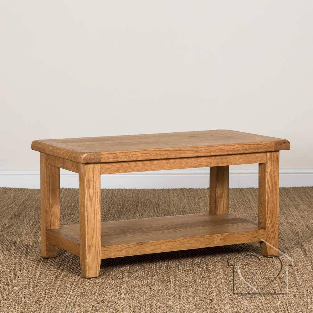 Heritage Rustic Oak Coffee Table With Shelf - £169.00 - A for Oak Coffee Table With Shelf (Image 9 of 15)