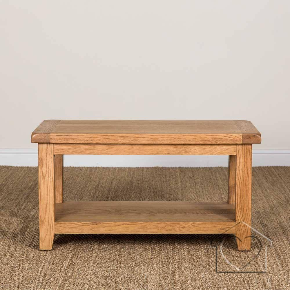 Heritage Rustic Oak Coffee Table With Shelf - £169.00 - A in Oak Coffee Table With Shelf (Image 10 of 15)