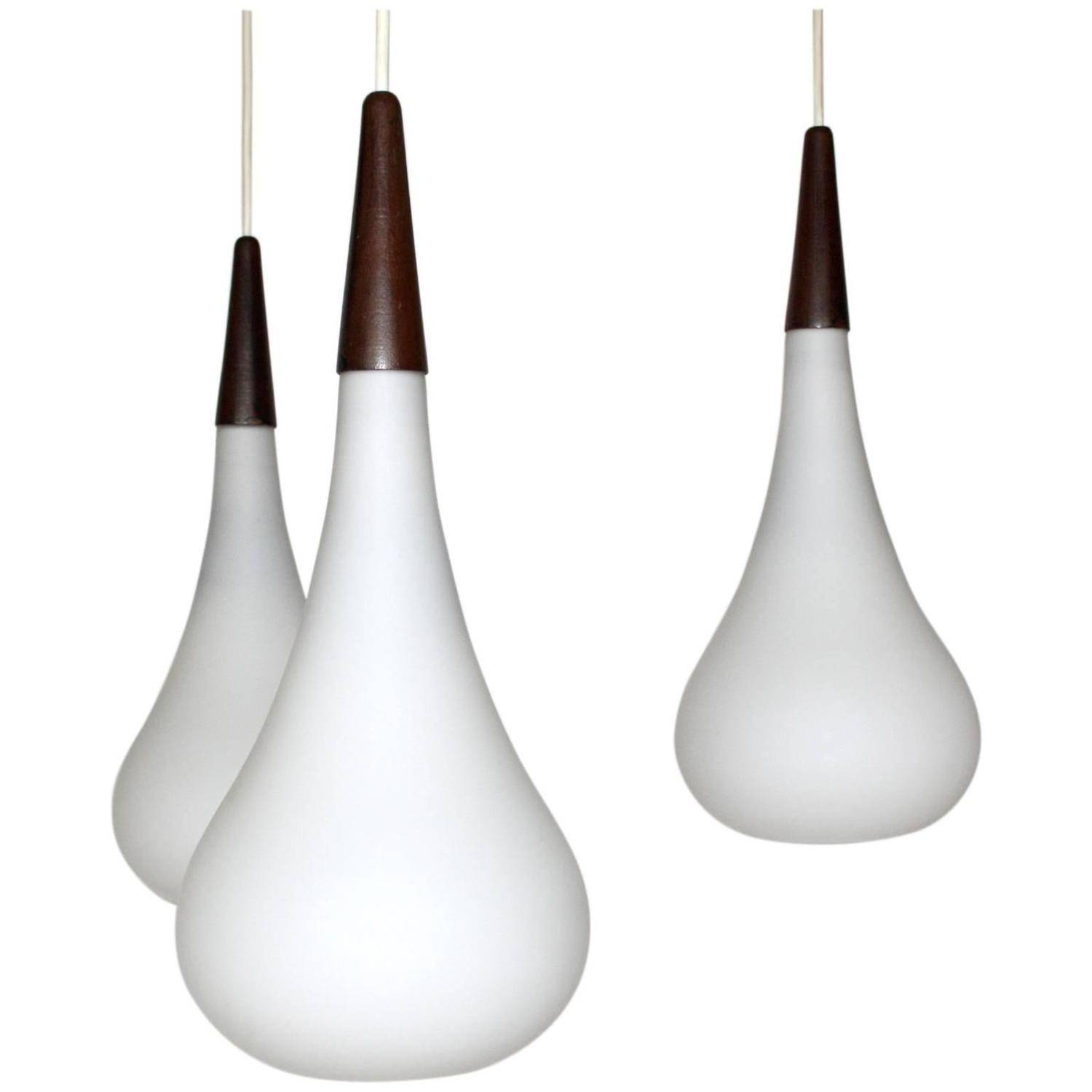 Holmegaard Teardrop Trio White Glass Pendant Light At 1Stdibs within Teardrop Pendant Lights Fixtures (Image 5 of 15)