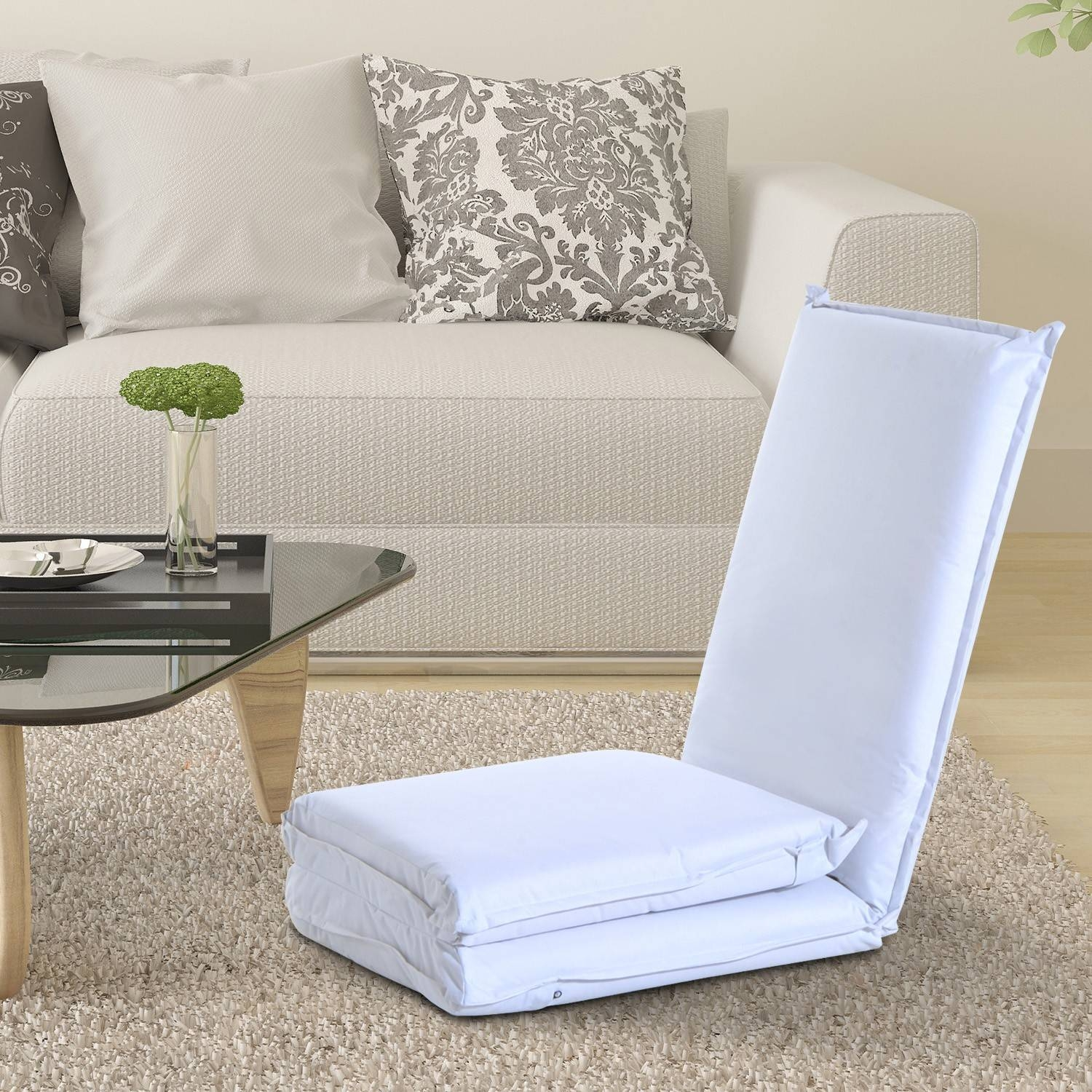 Homcom Lazy Lounge Chair-Cream White |Aosom.co.uk pertaining to Lazy Sofa Chairs (Image 11 of 15)
