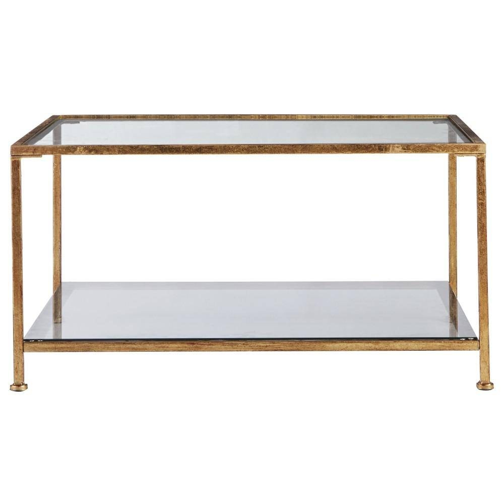Home Decorators Bella Aged Gold Square Glass Coffee Table inside Square Glass Coffee Tables (Image 6 of 15)