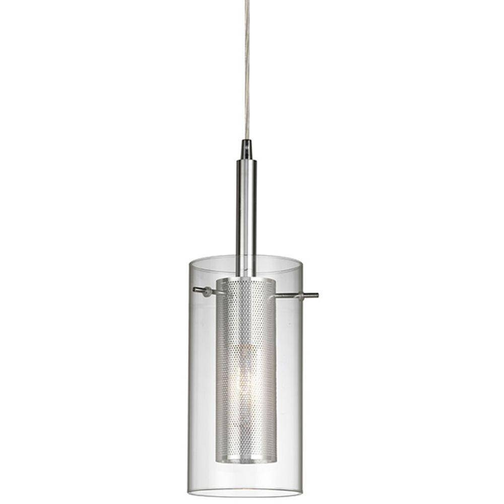 Home Decorators Collection 1-Light Chrome Dual Shade Mesh Cylinder with Clear Glass Shades for Pendant Lights (Image 7 of 15)