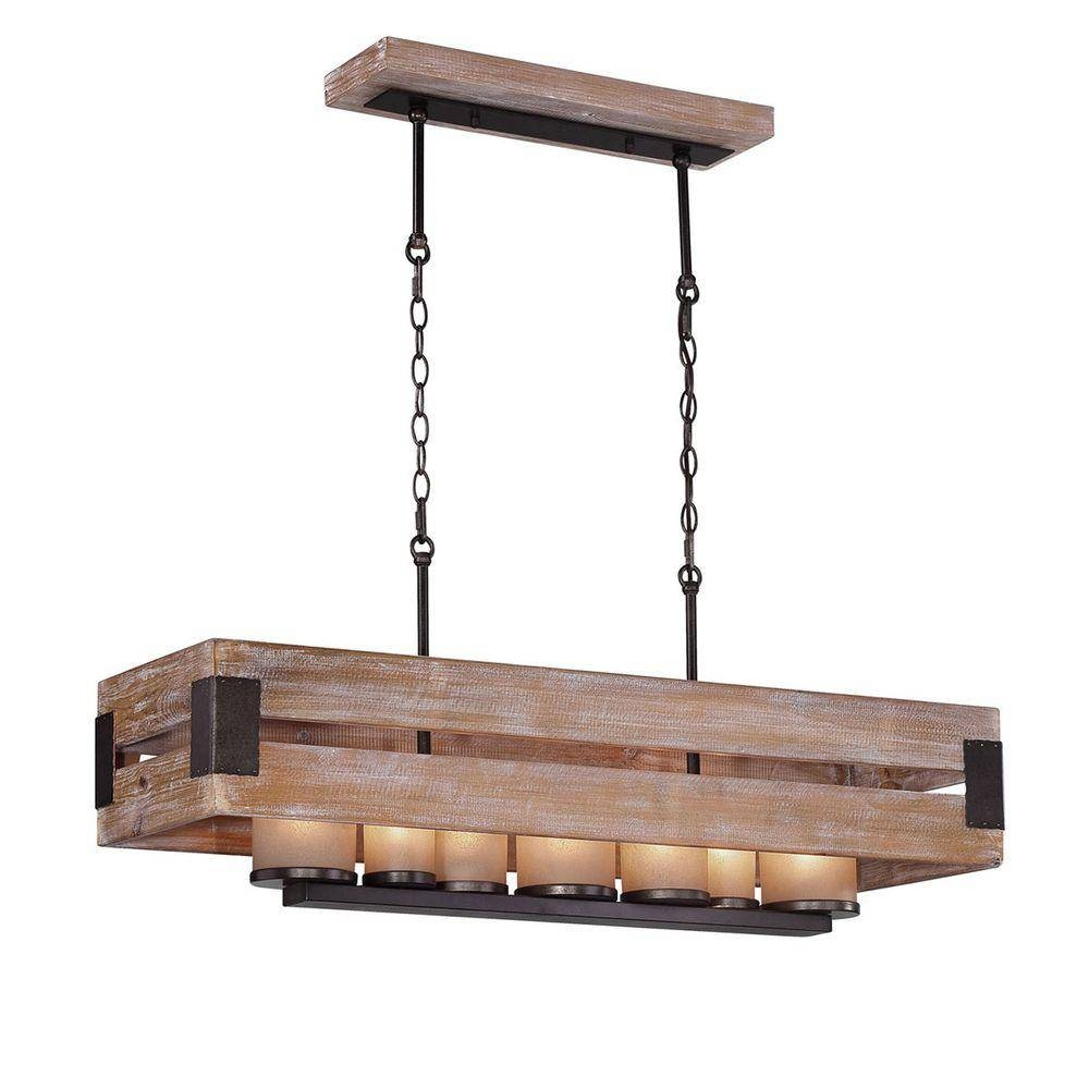Home Decorators Collection Ackwood Collection 7-Light Wood throughout Easy Lite Pendant Lighting (Image 12 of 15)