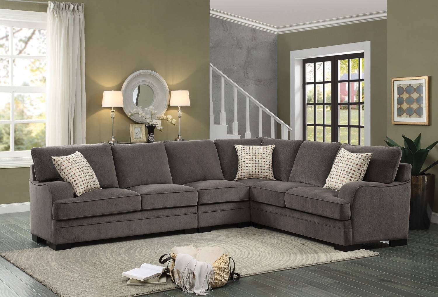 Homelegance Alamosa Sectional Sofa Set - Chenille - Brown 8335 intended for Chenille Sectional Sofas With Chaise (Image 9 of 15)