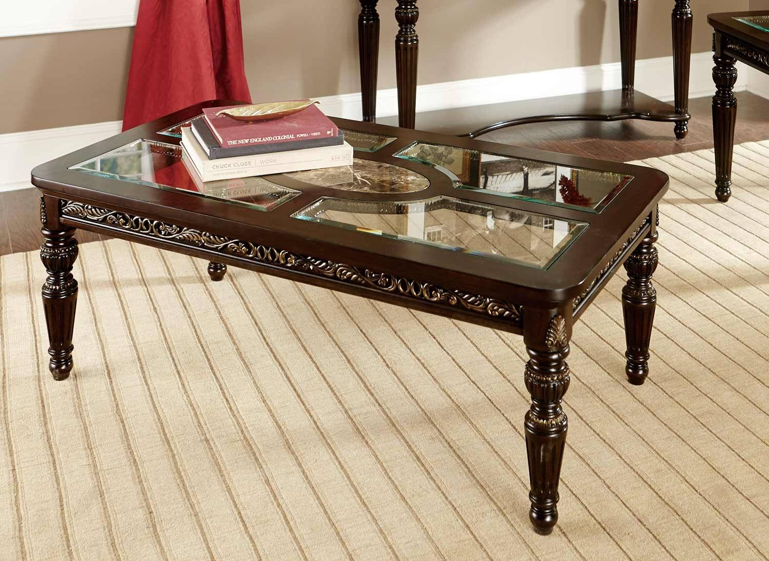 Homelegance Russian Hill Coffee Table Set - Cherry With Glass with regard to Marble And Glass Coffee Table (Image 7 of 15)