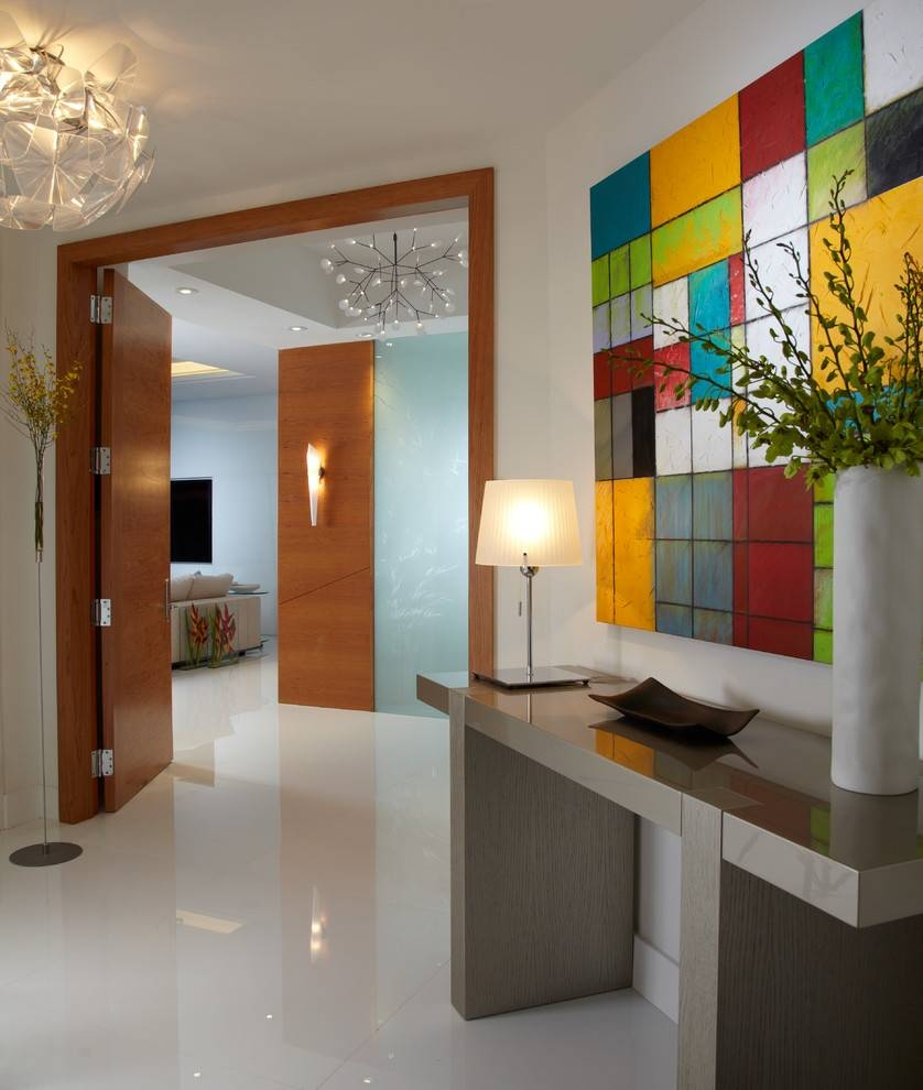 How To Decorate A Hall Table Entry Contemporary With Wood Doors inside Entry Hall Pendant Lighting (Image 9 of 15)
