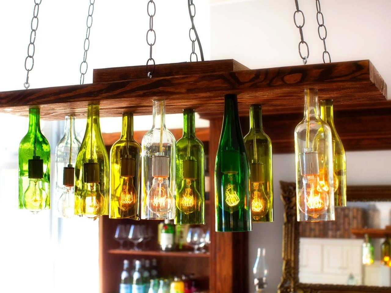 How To Make A Chandelier From Old Wine Bottles | How-Tos | Diy with Wine Glass Lights Fixtures (Image 6 of 15)