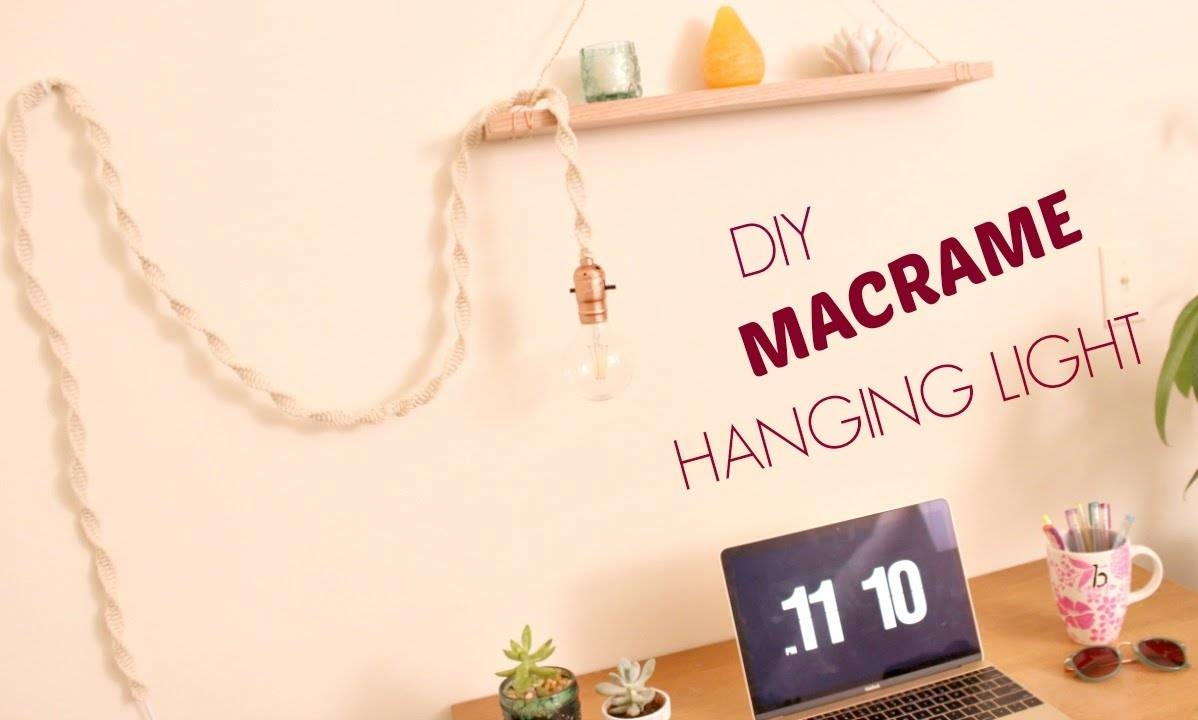 How To Make A Diy Macrame Hanging Light, Boho Office & Room Decor within Macrame Pendant Lights (Image 3 of 15)