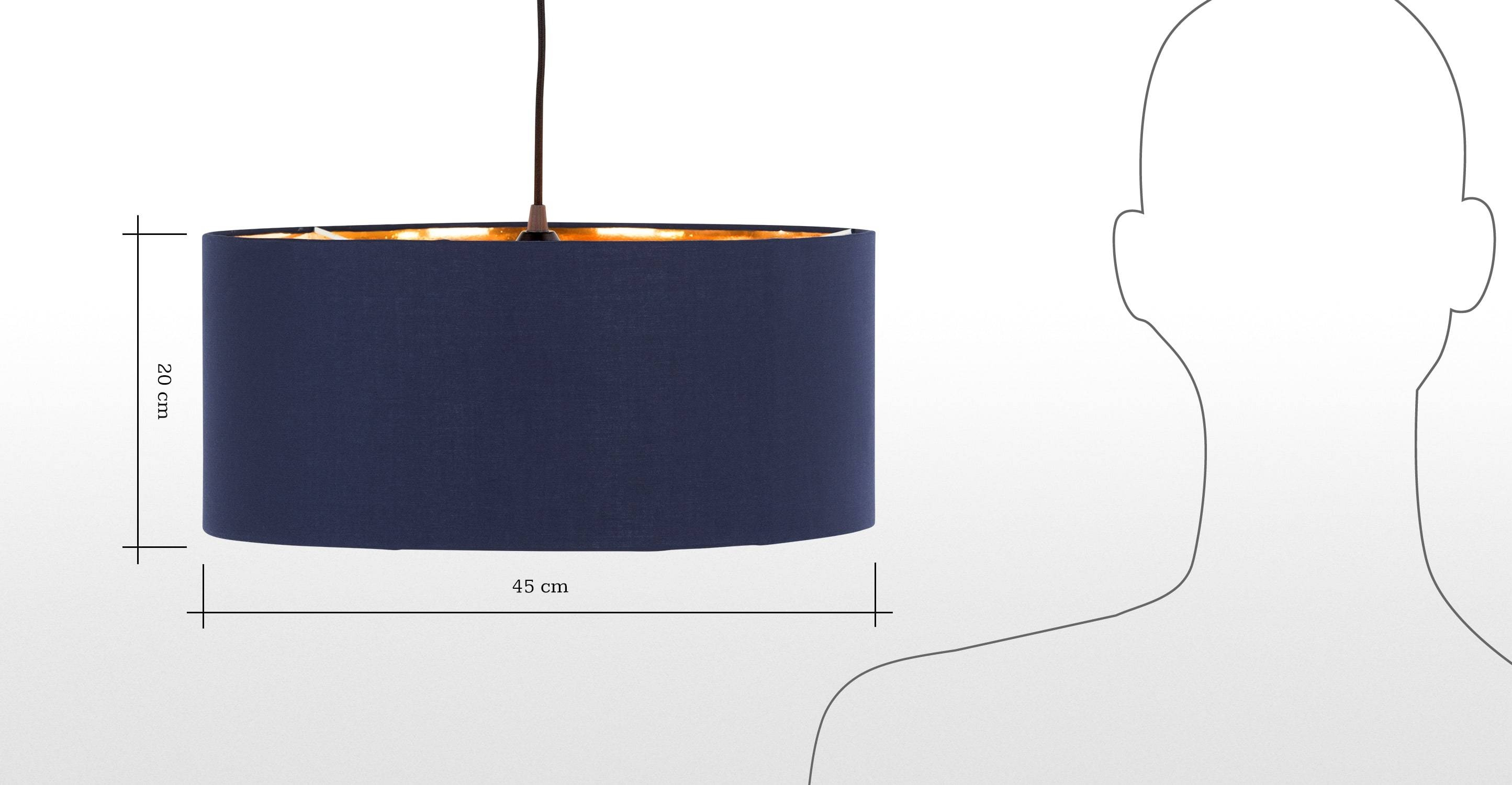 Hue Pendant Shade, Navy & Copper | Made intended for Navy Pendant Lights (Image 8 of 15)