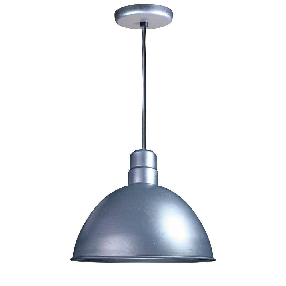 Illumine 1 Light Outdoor Hanging Galvanized Deep Bowl Pendant Cli Within Galvanized Pendant Barn Lights (View 13 of 15)