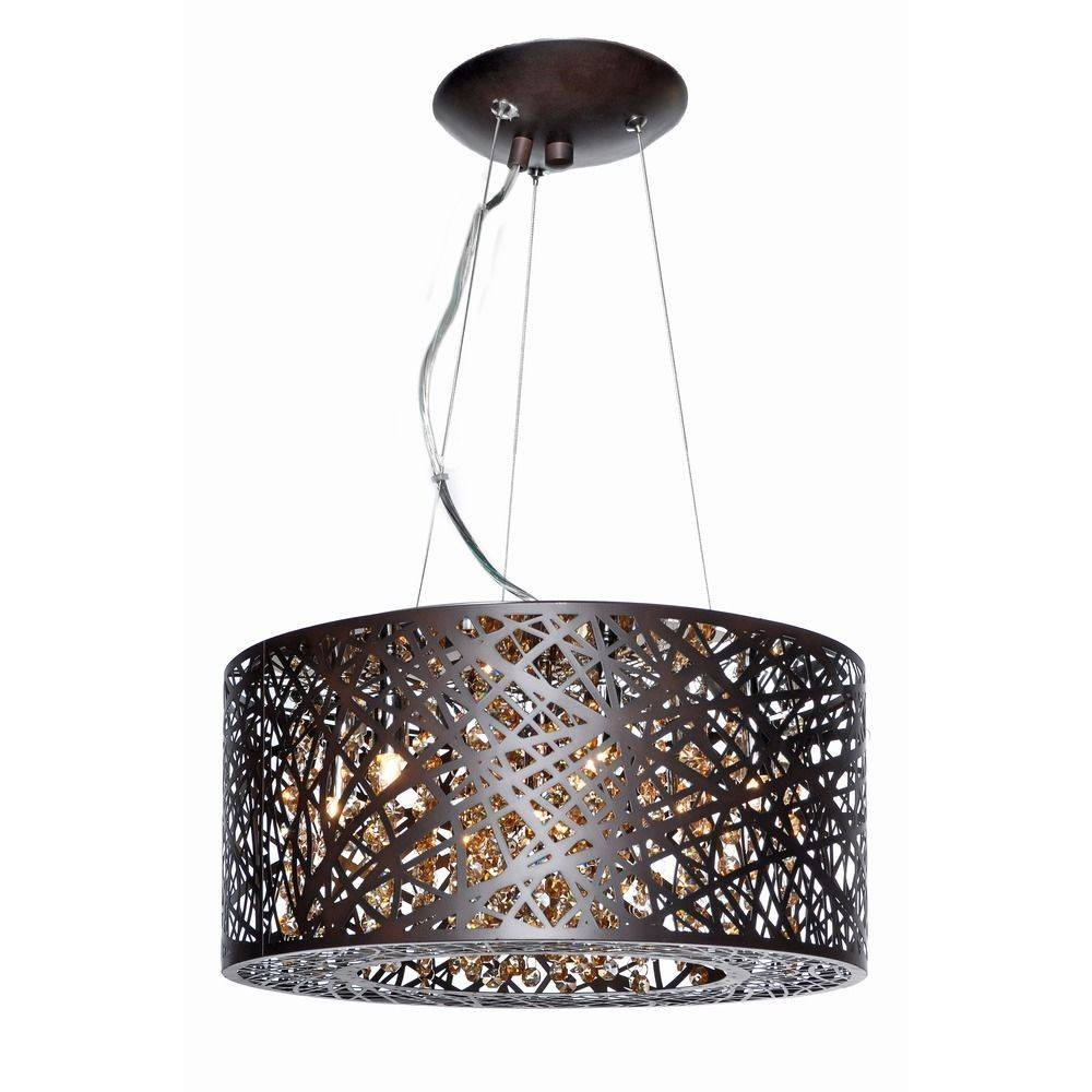 Inca Bronze Pendant Light With Drum Shade | E21309-10Bz in Inca Pendant Lights (Image 12 of 15)