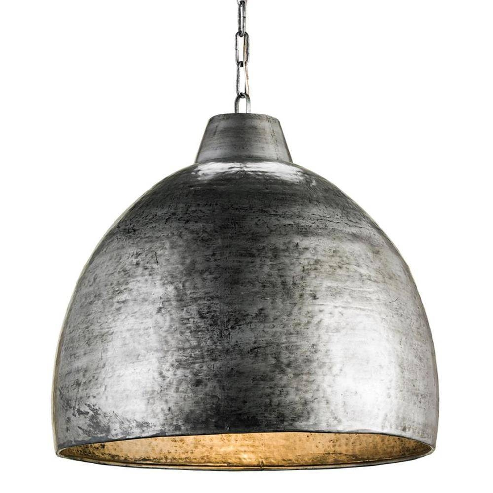 Industrial Loft Hammered Metal Modern 1 Light Pendant | Kathy Kuo Home pertaining to Hammered Pendant Lights (Image 6 of 15)