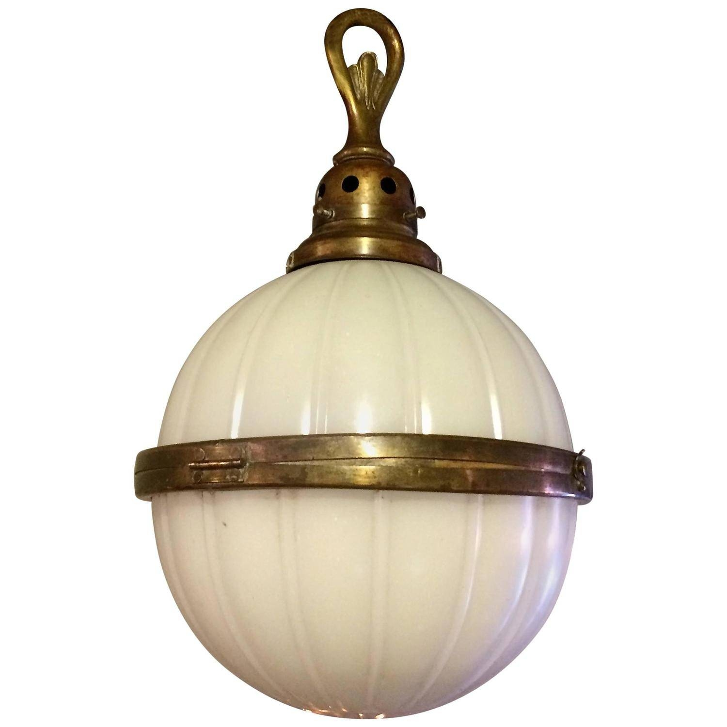 Industrial Ribbed Milk Glass And Brass Library Globe Pendant Light for Milk Glass Pendant Light Fixtures (Image 4 of 15)