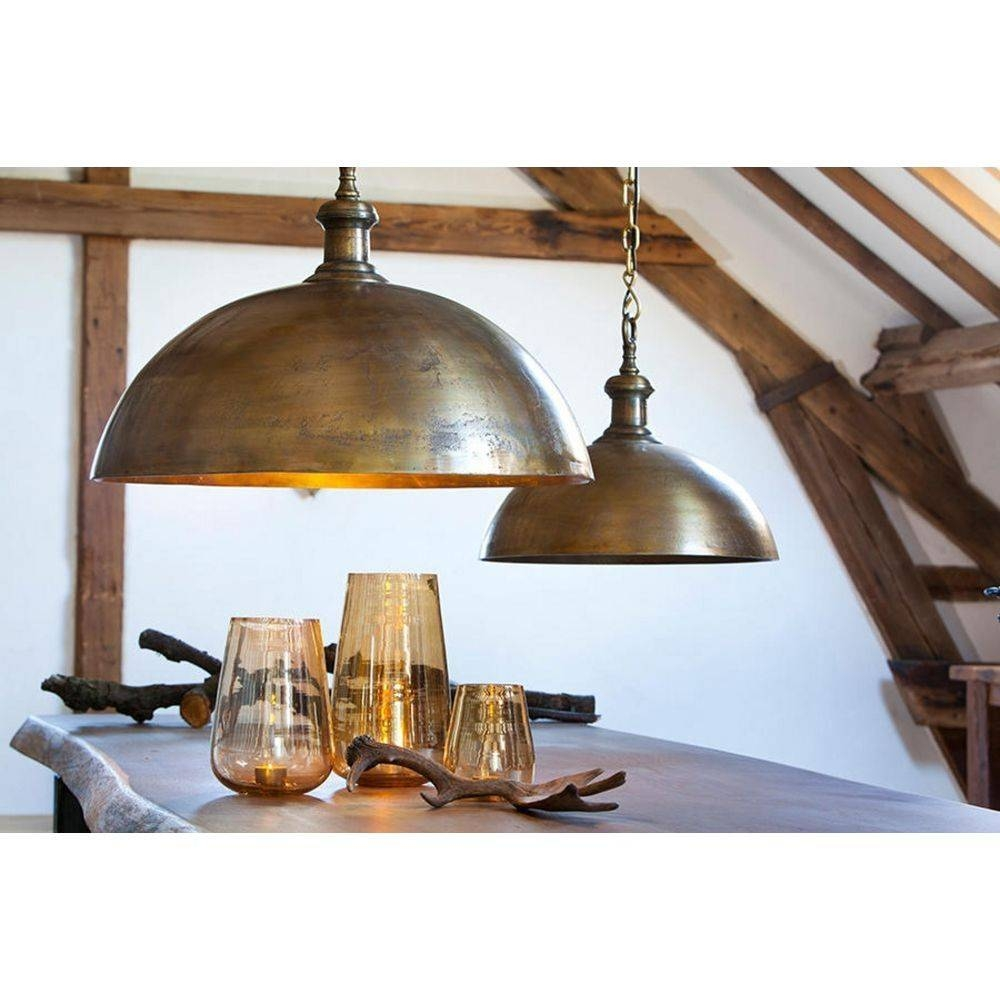 Industrial Style Dome Pendant Light In Brass Finish | 3034418 with Industrial Looking Pendant Light Fixtures (Image 7 of 15)