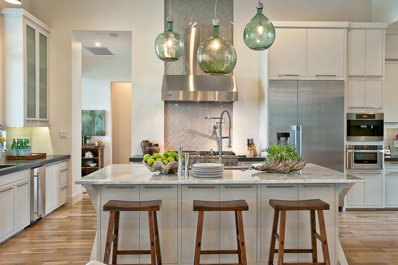 Best White Kitchen With Green Industrial Pendant Light #8424 ...