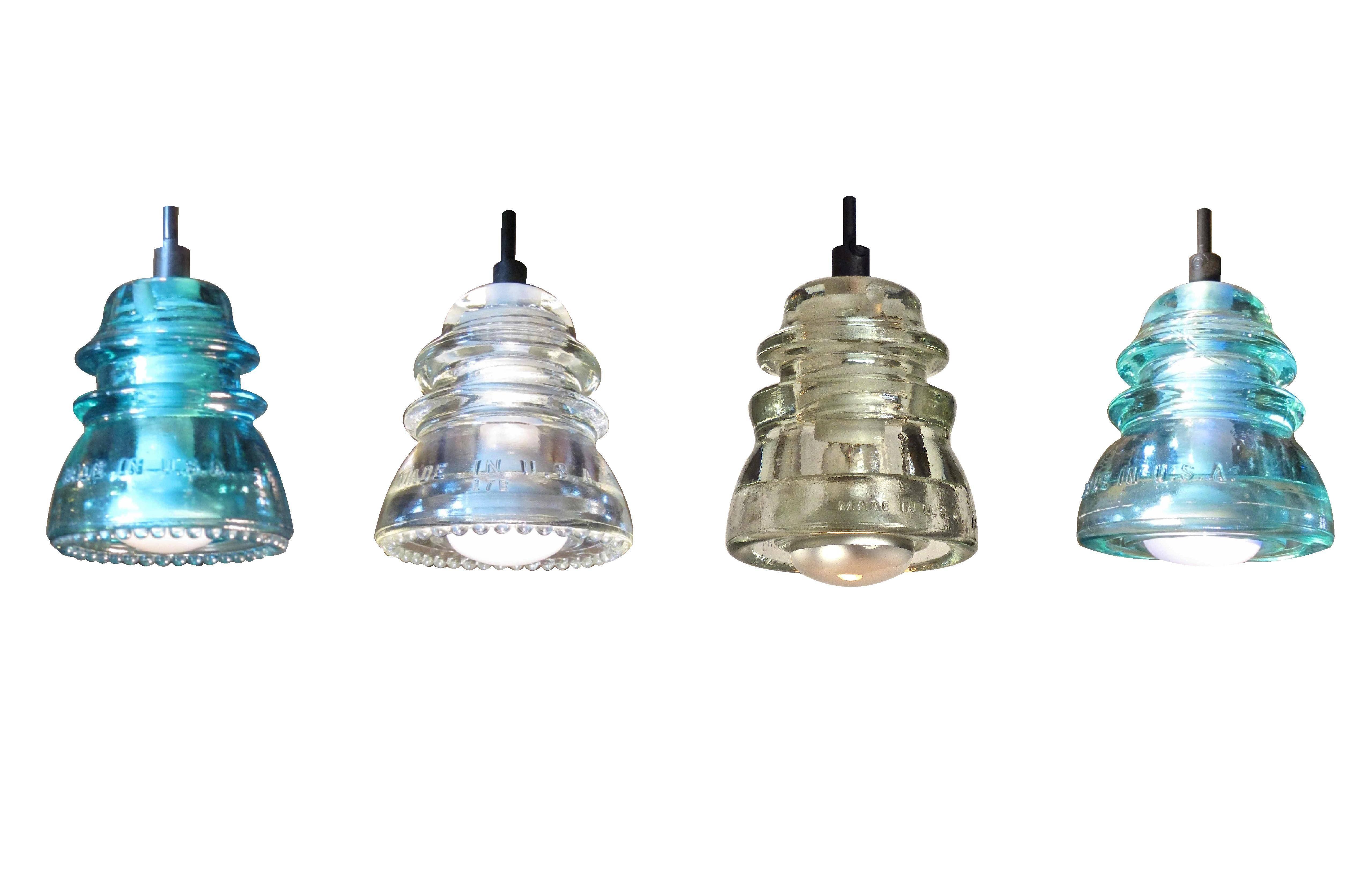 "Insulator Light Pendant 7"" Rusted Metal Hood 120V/40W Bulb in Insulator Pendant Lights (Image 4 of 15)"