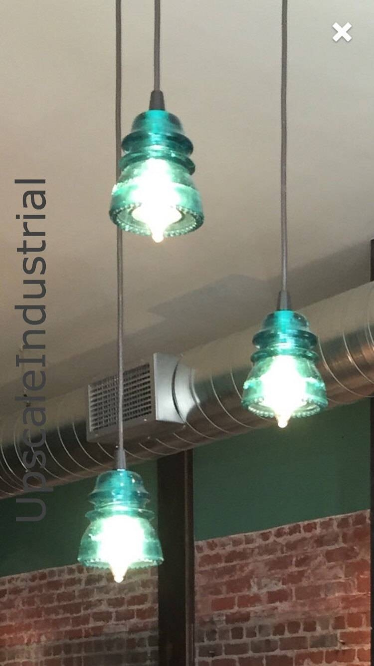 Insulator Lighting Chandelier Vintage 1920's 60's Repurposed Throughout Insulator Pendant Lights (View 8 of 15)