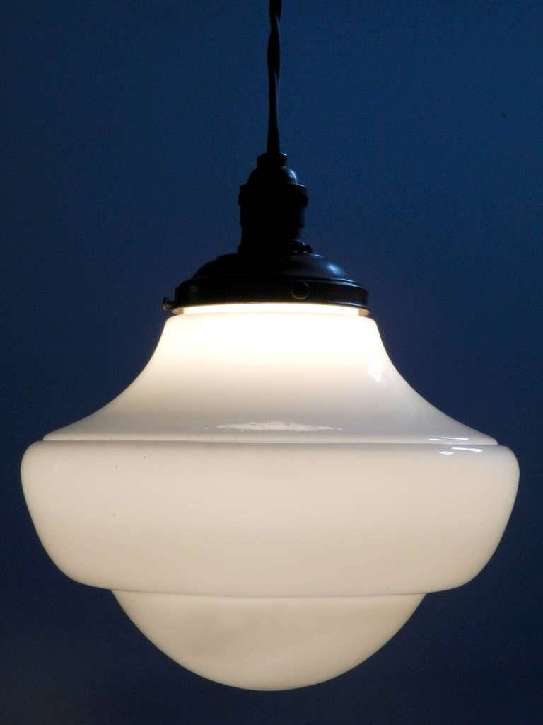 Interesting Milk Glass Dome And Ring Schoolhouse Pendant, Matching with regard to Milk Glass Pendants (Image 5 of 15)