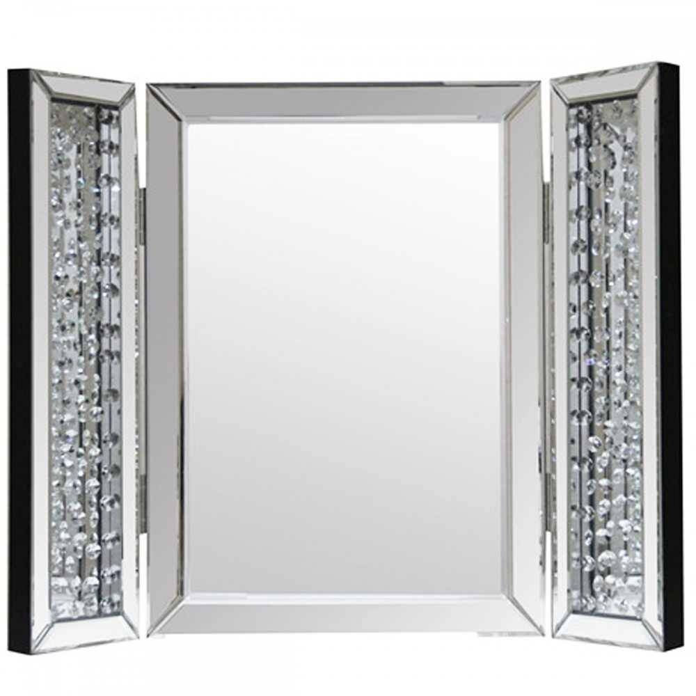 Interior: 3 Sided Mirrors With Trifold Mirror within Mirrors With Crystals (Image 10 of 15)