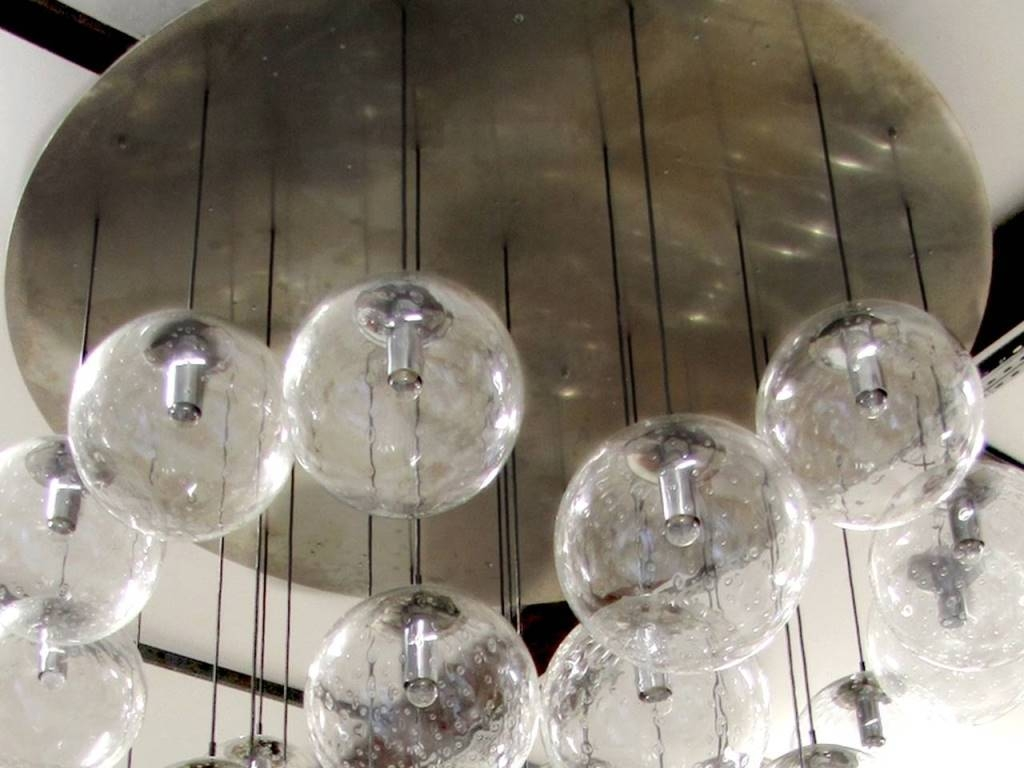 Interior: Candle Light Chandelier And Glass Orb Chandelier intended for Paxton Hand Blown Glass 8 Lights Pendants (Image 12 of 15)