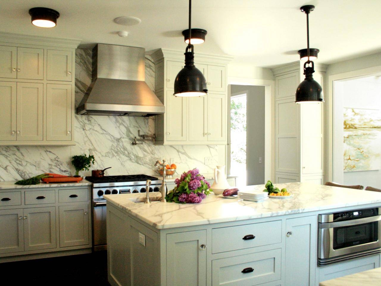 Interior: Elegant White Kitchen Design With White Marble in Stainless Steel Industrial Pendant Lights (Image 7 of 15)